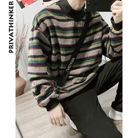 Privathinker Men Striped Winter Sweaters 2018 Mens Harajuku Half Turtleneck Pullover Retro Sweaters Male Warm Korean Clothing
