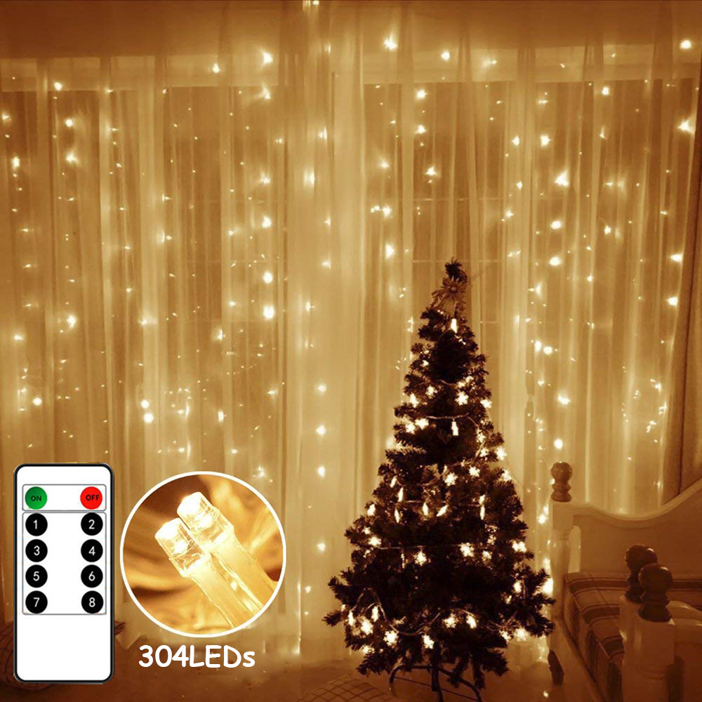 Us 13 5 30 Off 3x3m 304 Leds Remote Control Fairy String Lights Christmas Garland Home For Wedding Garden Birthday Party Street Curtain Decor In