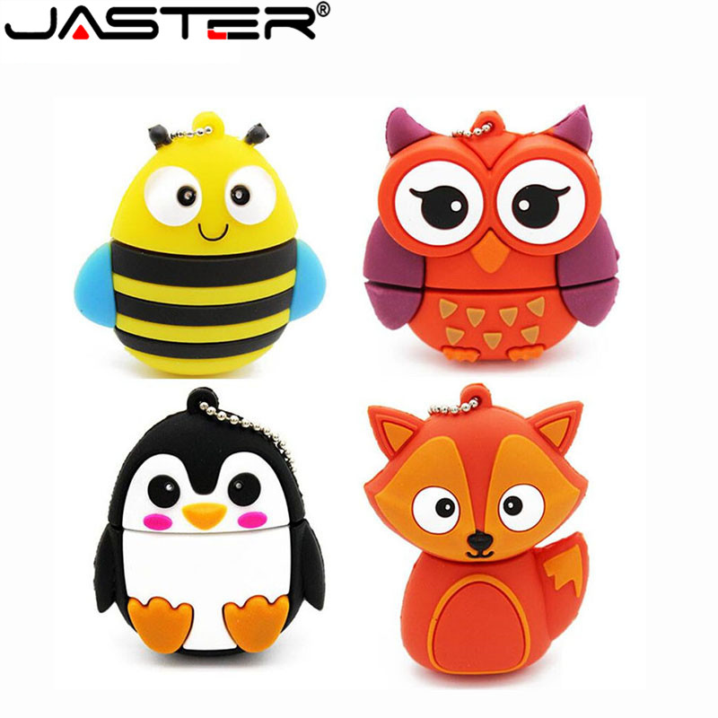 JASTER USB 2.0 Cute Penguin Owl Fox Pen Drive Cartoon Usb Flash Drive  4GB/64GB/16GB/32GB 64GB U Disk Animal Memory Stick