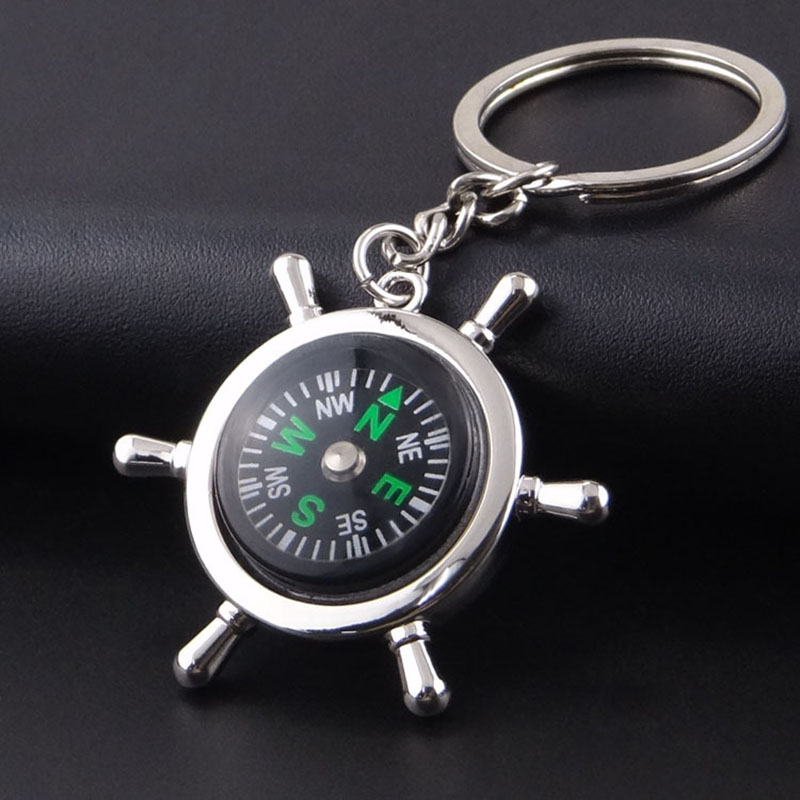 Mini Compasses Alloy Silver Key Chain Portable Long Lasting Use Durable Navigation Keychain Travel Safety Outdoor Survival Tool