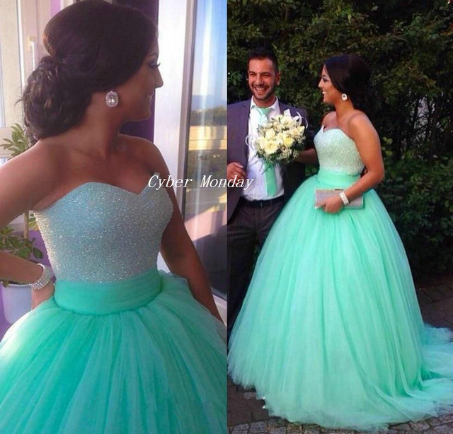 Ball Gowns Long 2015 Mint Green Quinceanera Dresses Beaded Sweetheart  Bodice Corset Prom Dress 2015 Sparkly Pageant Dress CR020 161cdf0dfd8c