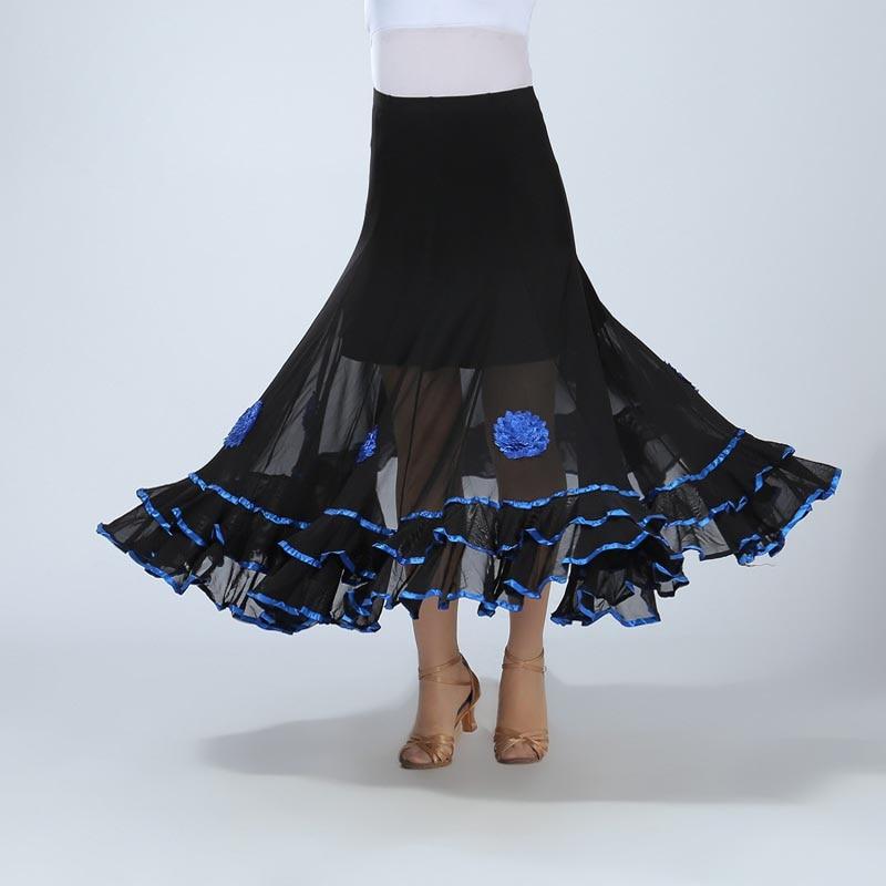 Women Belly Dance Waltz Flamenco Ballroom Dress Competition Outfits Spain Dancer Skirts Long Swing Dance Skirt Holographic (2)