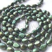 """P6006-4"""" длинный 8-9 мм зеленый искусственный жемчуг в стиле барокко ожерелье"""