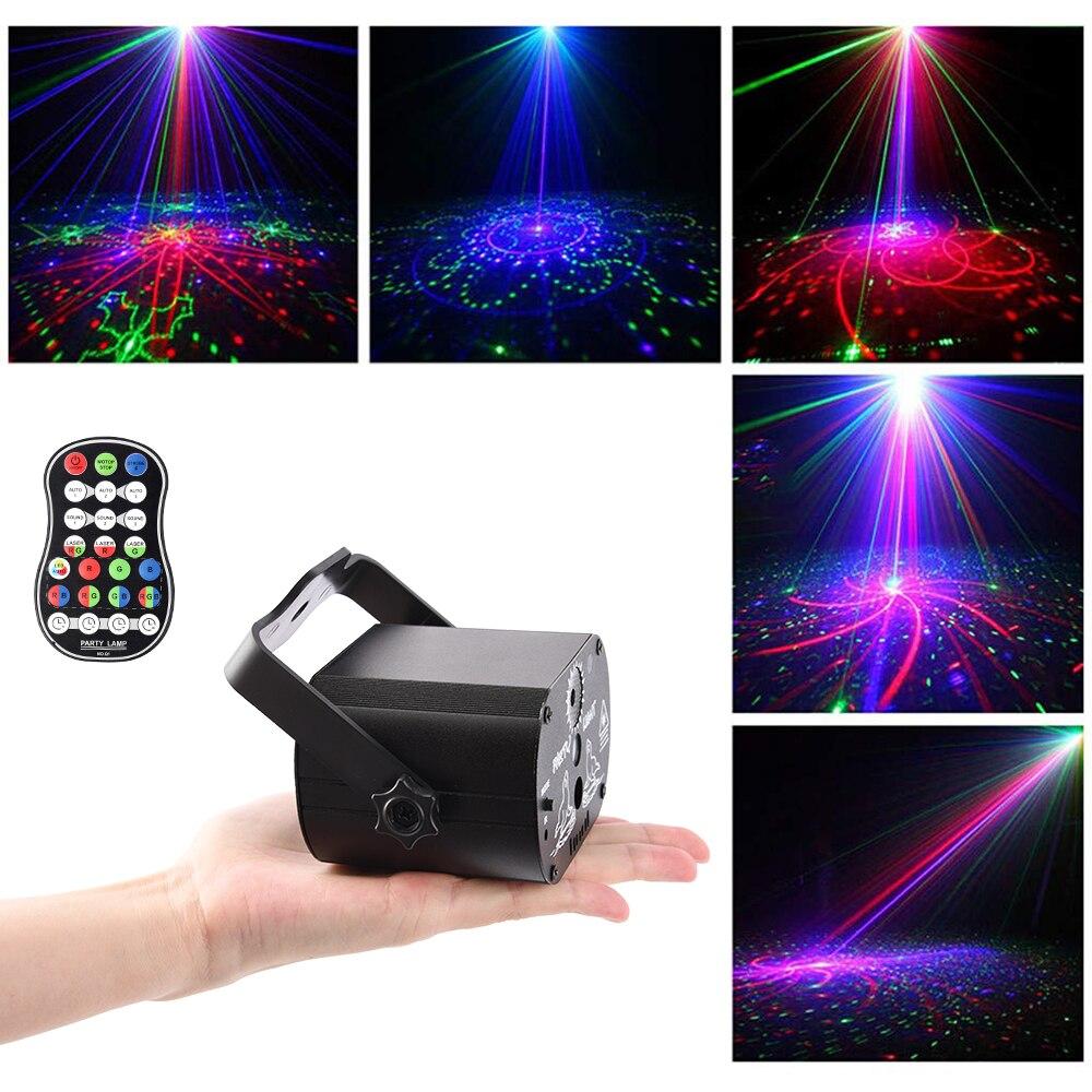 Led Disco Licht Bühne Lichter Voice Control Musik Laser Projektor Lichter 60 Modi RGB Wirkung Lampe Für Party Zeigen mit controller