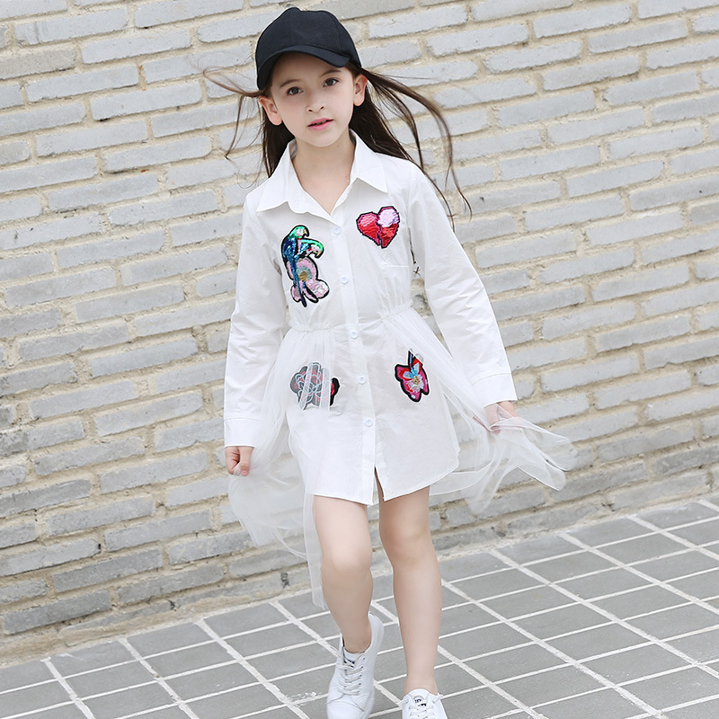 Dresses for Girls Full Sleeve Girls Blouse Sequins Summer Spring Kids Clothes White Mesh Dress for Teen 6 8 10 12 14 15 Years blouse for girls autumn clothes for teenagers 8 9 10 11 12 13 years slash neck flower girls blouse white top shirt camisa xadrez