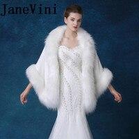 JaneVini Elegant Faux Fur Wraps For Wedding Bride Evening Stoles Fur Bolero Princess Jacket Bolero Bridal Winter Coat Shawl Warm
