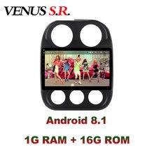 Venurss Android 8,1 reproductor de DVD para coche navegación Multimedia GPS para JEEP Compass Patriot Radio 2009-2016 estéreo de coche wifi