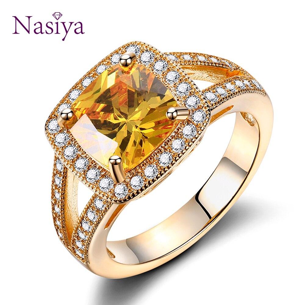 87046f2f9f30 Top Venta caliente marca creado citrino anillos para las mujeres 925 Plata  joyería de anillo de
