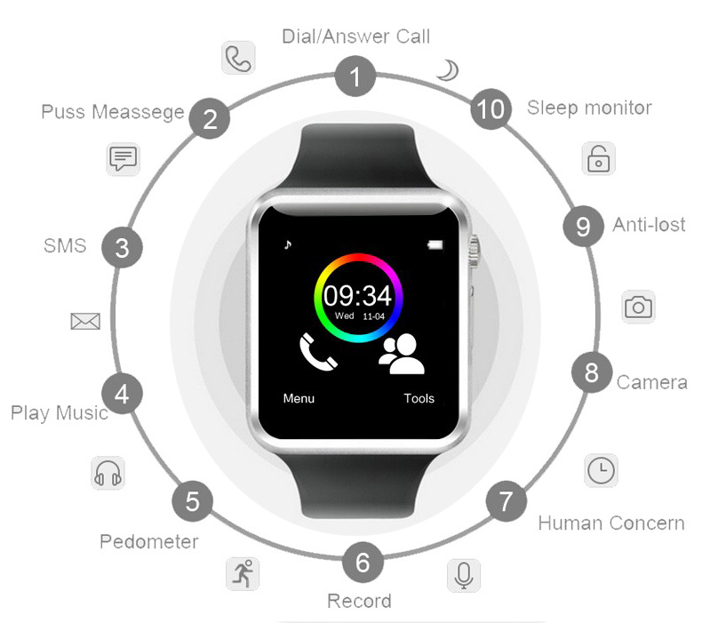 2016 New Arrival A1 Smart Watch Clock Sync Notifier Support SIM TF Card Connectivity Apple iphone Android Phone Smartwatch 9
