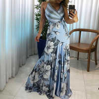 Summer Women Elegant 2019 Fashion Prom Sexy Long Party Dress Casual Female Floral Print Wrapped Tied Side Boho Maxi Dress
