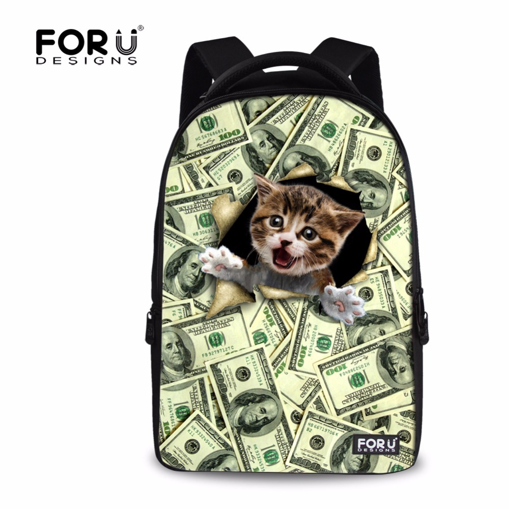 FORUDESIGNS Casual Backpack For Women Men Large Cute Animal Cat Dog Printing College Student School Backpack Laptop Bags Mochila forudesigns casual backpack for women men large cute animal cat dog printing college student school backpack laptop bags mochila