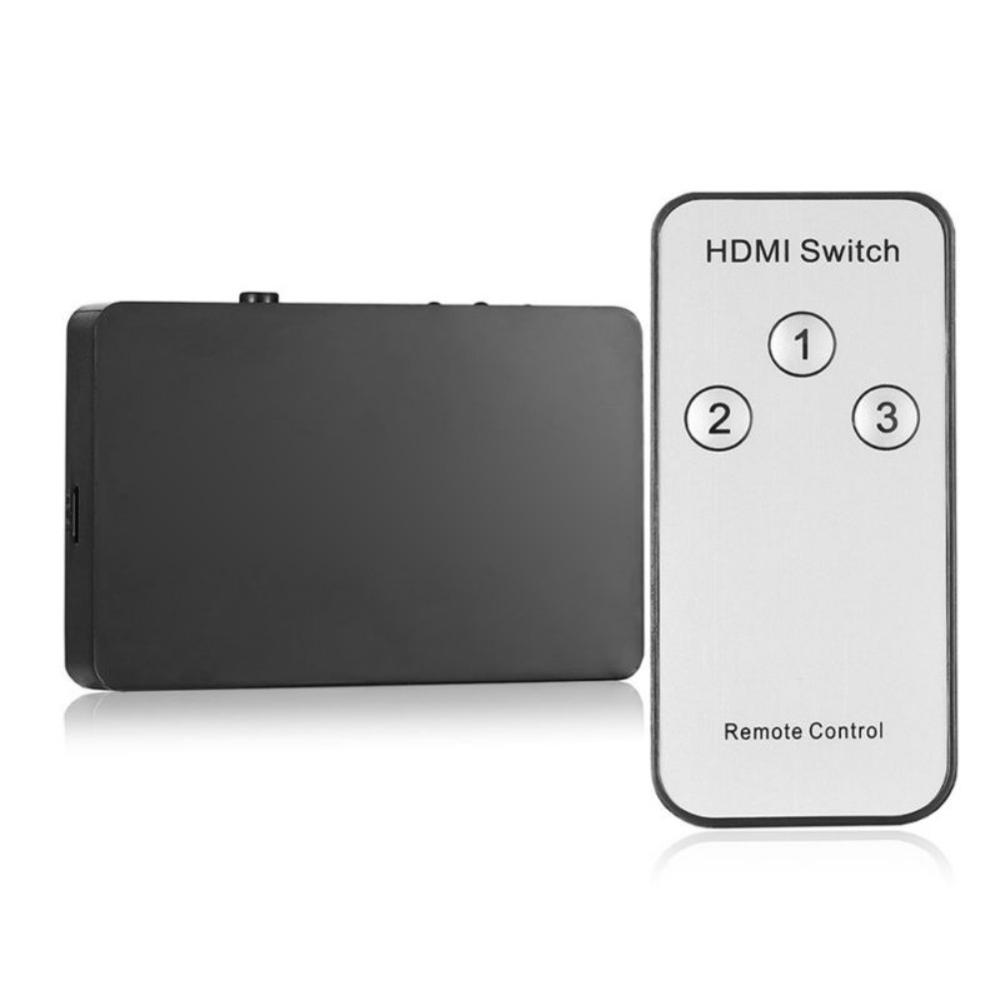 3 In 1 Out Splitter Switcher For HDMI 3 Port Remote Control 1080P HD Auto Switch Computer Audio Video Hub