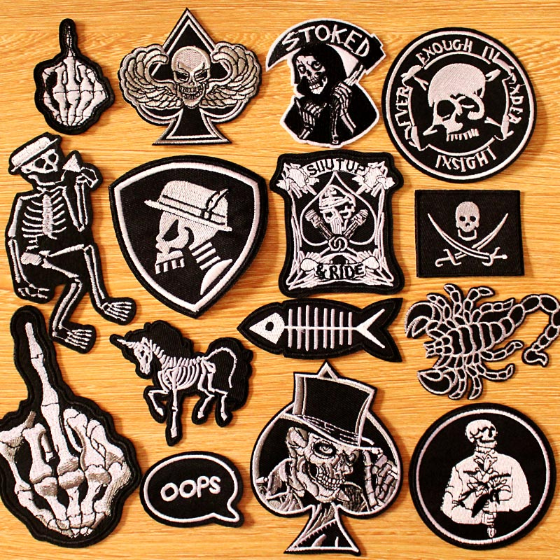 Large Patch Iron Sew On Embroidery Badge Animal Skull Biker Applique Clothes