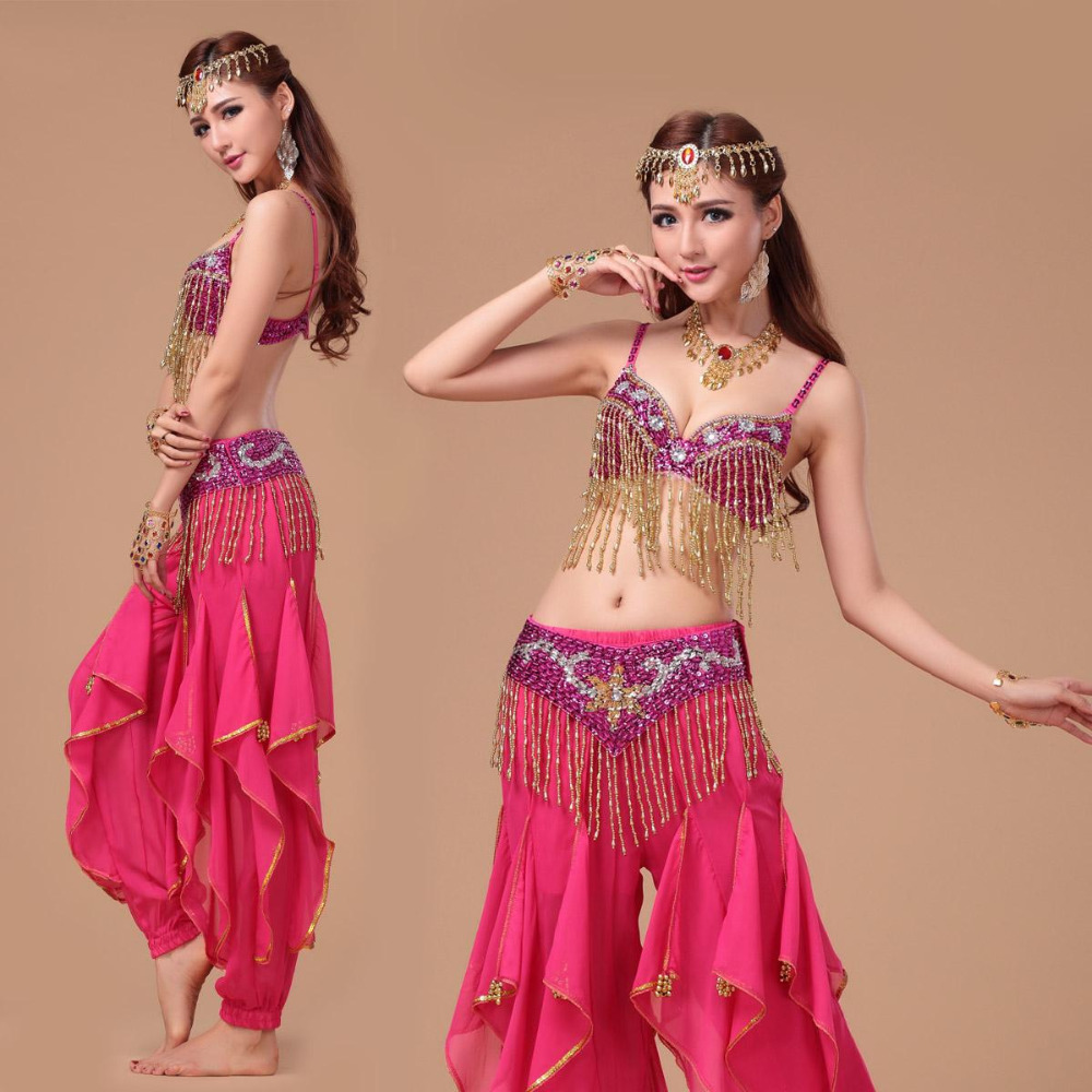 916fab7223f0e Belly Dance Costume S/M/L 3pcs Bra&Belt&Pants Sexy Dancing women dance  clothes Set