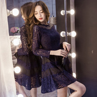 Women's foundation fall new slim A word Korean lace dress backing long sleeve stitching organza dress