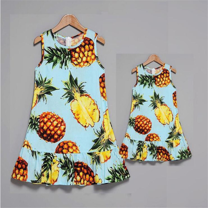 Lemon-Mother-and-Daughter-Dresses-Family-Look-Sleeveless-Mommy-and-Me-Clothes-Mom-Mum-and-Baby (3)