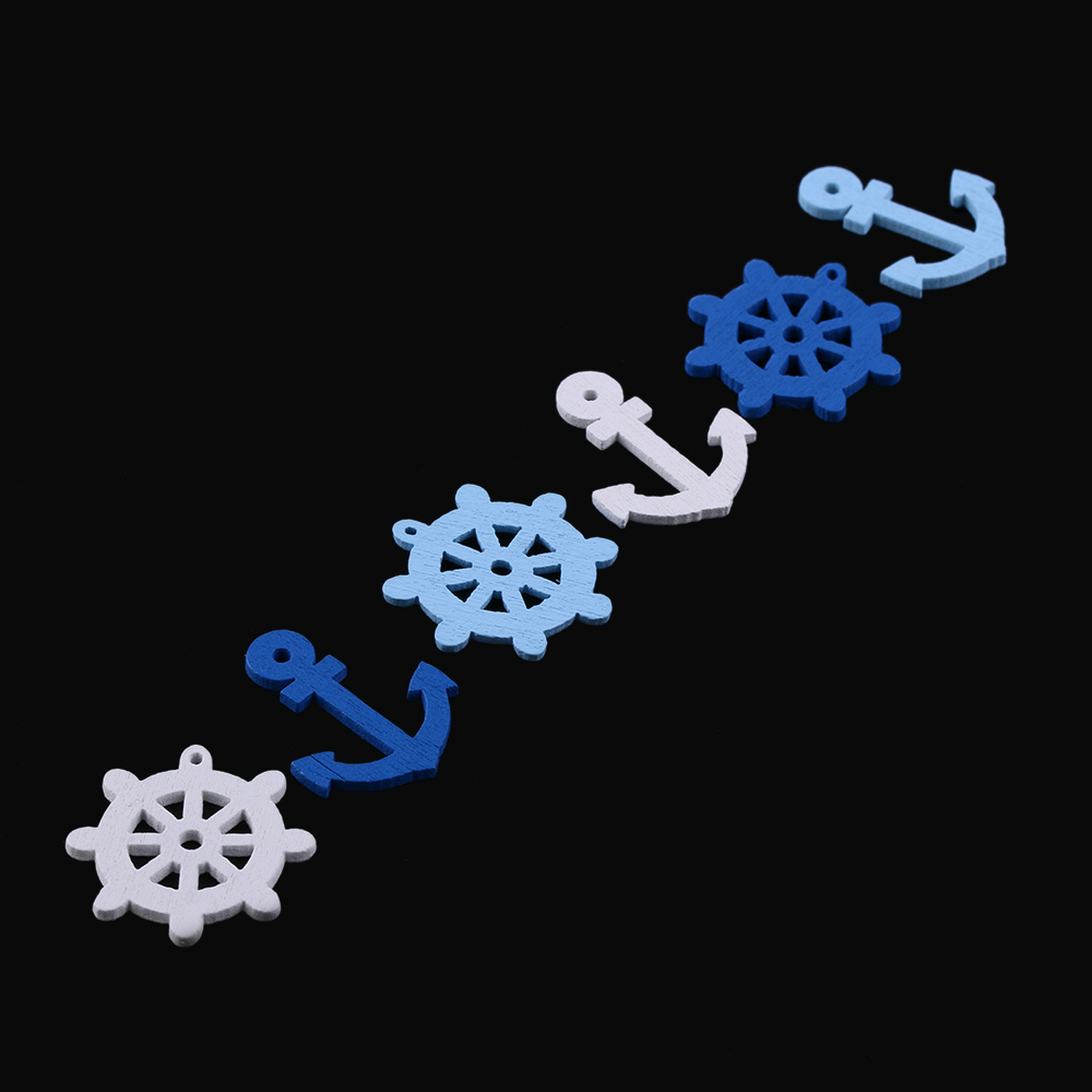50Pcs Mix Sea Steering Wheels Anchors Scrapbook Craft Wood Buttons 2 Holes New Fashion DIY Sewing Button