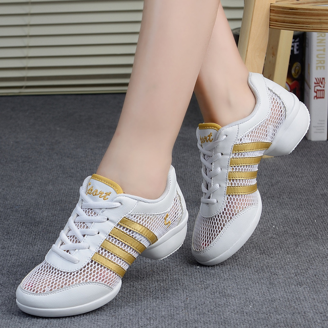 950af15b3c73 Square Dance Shoes Woman Summer Female Adult Soft Bottom Single Mesh Modern  White Leather Sports Shoes Dancing Sailor