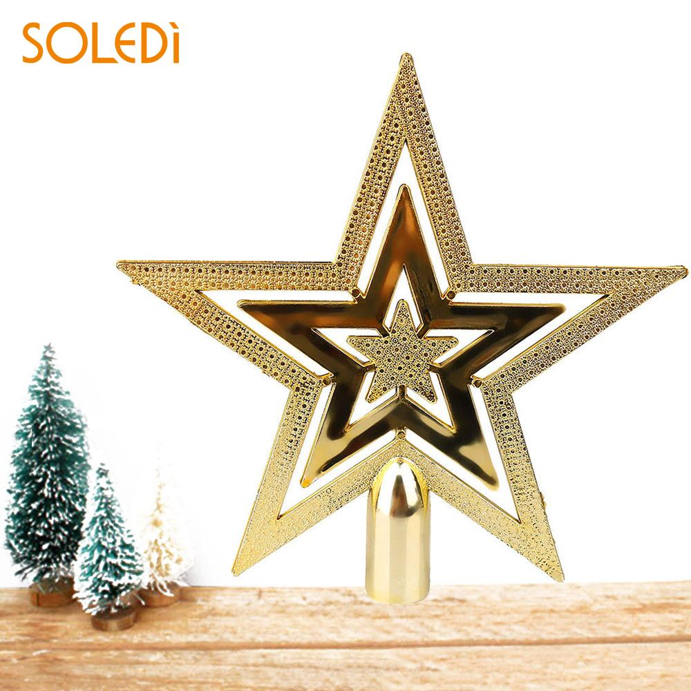 Christmas Tree Decorative Topper Star Gold Three Layers Home ...