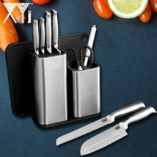 XYJ Kitchen Knife Sets & Kinfe Holder Sharpener Japanese Sharp Blade 7cr17 Stainless Steel Knives 8 Piece Set Cooking Tools