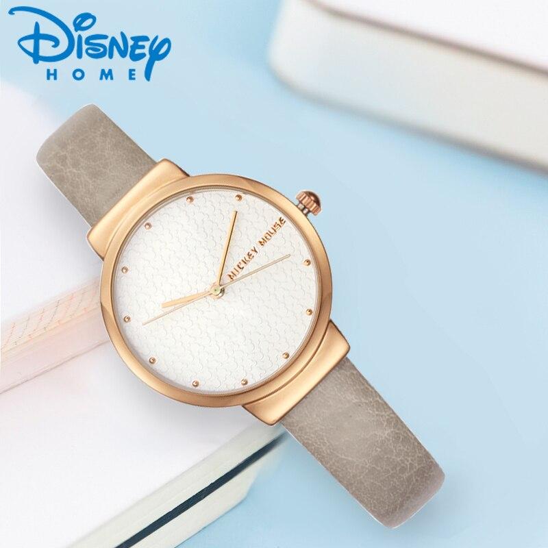 Disney Simple Design Women Minimalist stylish Silver Rose Gold Tone Quartz Watch Leather Strap Fashion Clock Whatch MK-11171