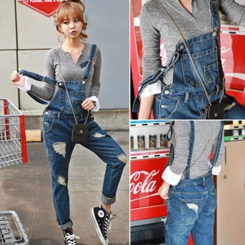 2019 New Women Ripped Denim   Jumpsuits   Casual Sexy Stretch Romper Simple Denim Pencil Overalls Stretch Slim Dungarees