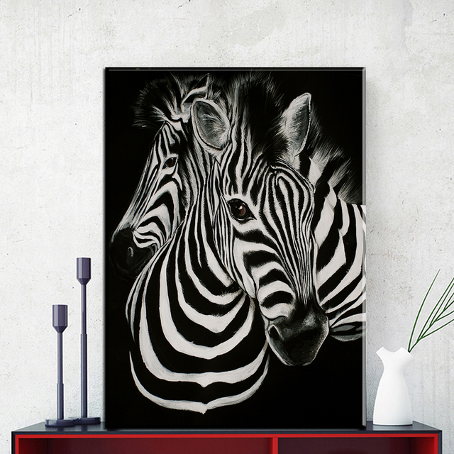 Zz1845 black and white zebra canvas art modern animal canvas pictures oil art painting for livingroom