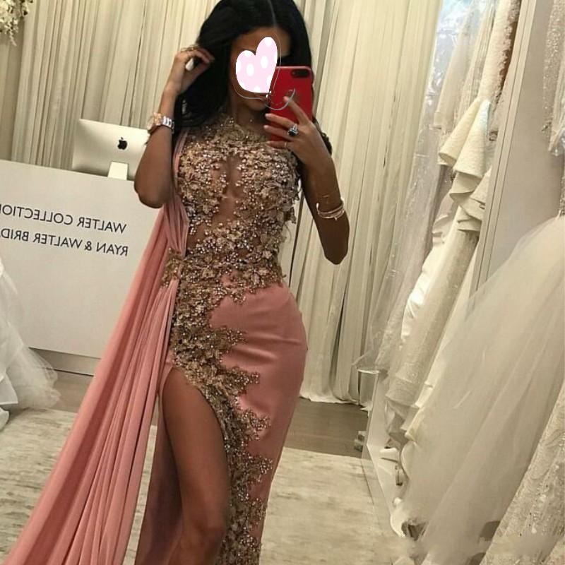 Dusty Pink   Evening     Dress   Sexy abendkleider vestidos longo Long   Evening   Gowns Lace avondjurken gala jurken   Evening     Dresses   Slit
