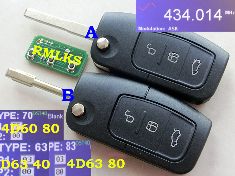 RMLKS New Remote Key 3 Button 315MHz 433MHz 4D60 4D63 Chip Keyless Entry Fob Fit For Ford Mondeo Focus Fiesta C Max S Max Galaxy