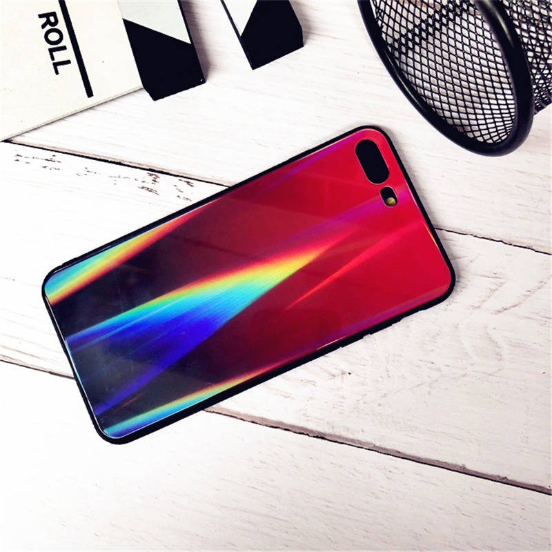 BONVAN For iPhone X 7 8 Plus Tempered Glass Back Case Gradient Color Laser Aurora Silicone Bumper For iPhone 7 6S 8 6 Plus Cover24