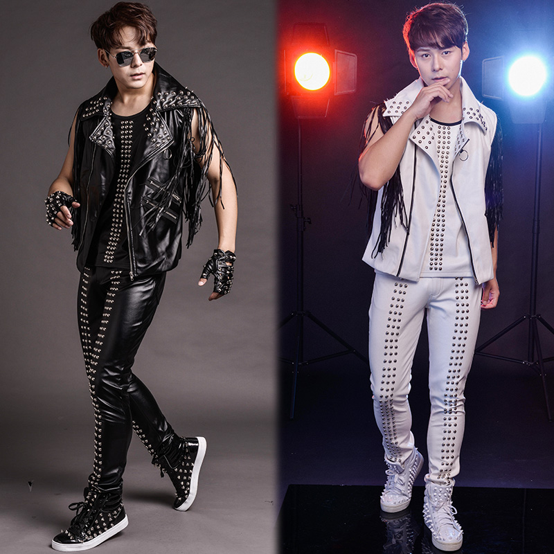 Men's Clothing Vests & Waistcoats Have An Inquiring Mind Xs-3xl 2017 New Nightclub Mens Clothing Singer Ds Dj Male Costumes Bar Stage Clothes Rivet Tassel Leather Vest Set Plus Size High Resilience