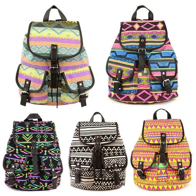 New Cool Fashion Lady Korean Stylish Vintage National Backpack ...