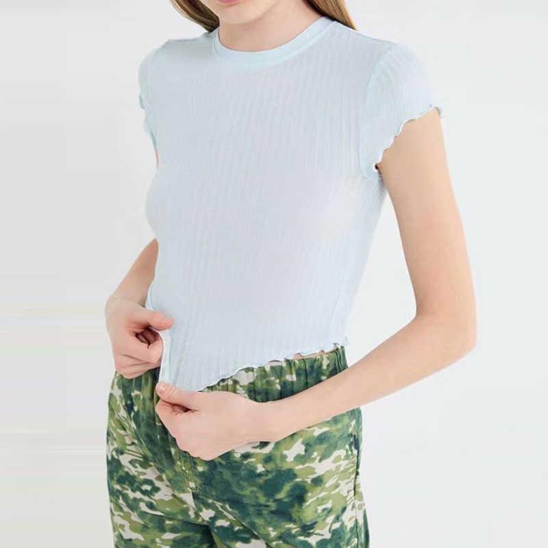 Mode d'été femmes T-Shirt court Crop hauts Sexy volants rayé Slash cou à manches courtes T-Shirt