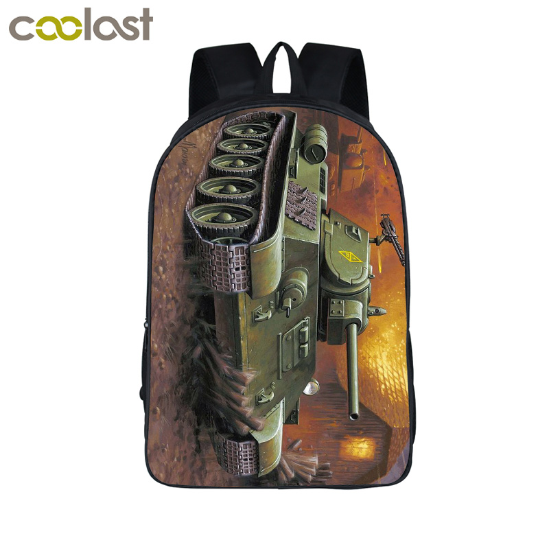 Cool Armored Main Battle Tank Laptop Backpack Men Travel Bags Armor 3d Printing Bagpack For Teenagers Girls Boys School Bags