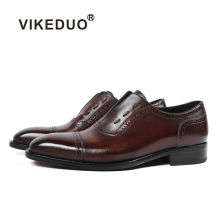 VIKEDUO Patina Bird Engraving Oxford Shoes Brown Elastic Band Wedding Office Mans Footwear Genuine Leather Men's Dress Shoes