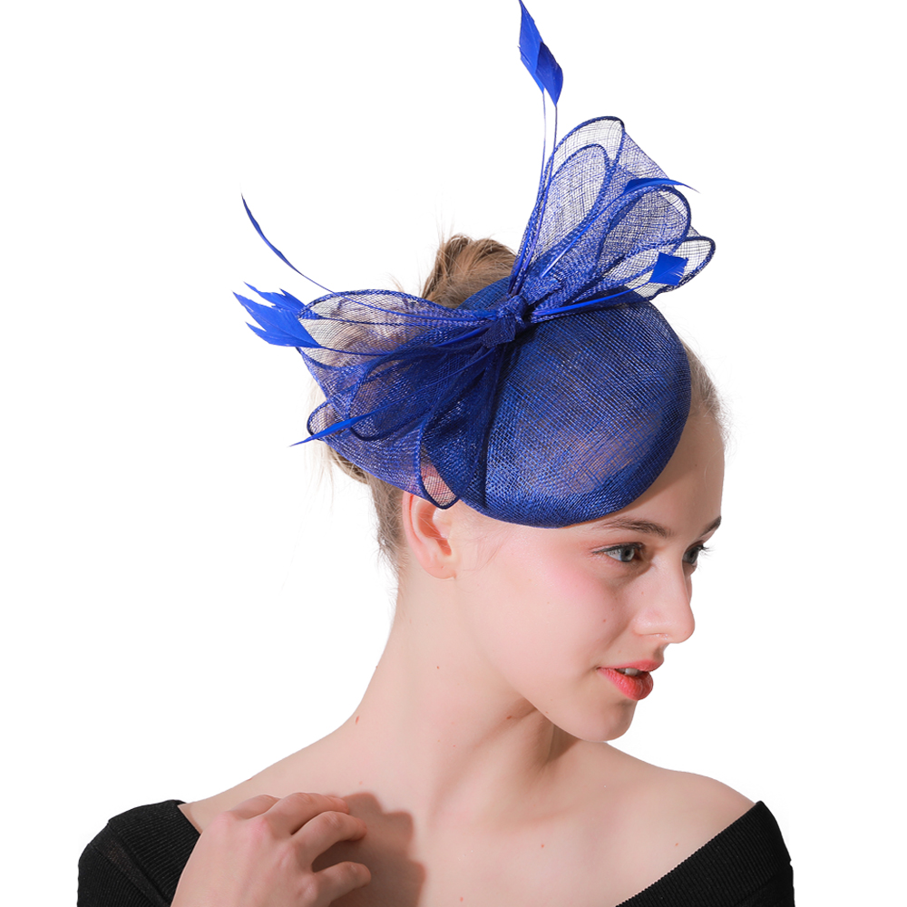 Royal Blue Wedding Party Fascinator Hat Hair Clip Elegant Women Race Headwear Bow Decor Cocktail With Feather Hair Accessories
