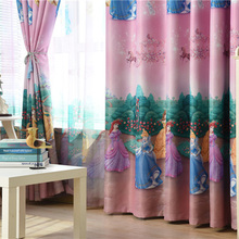 American Style Princess Figure Blackout Curtains for Girl Bedroom Window Treatments Cartoon Tulle for Kids Room Cute Roman Blind cheap Super Household Portrait Decoration + Full Light Shading hospital Cafe home Office hotel Cloth Curtain + Voile Curtain European and American Style