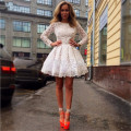 Elegant 2016 New Pretty Girl's White Lace Full Sleeve A-Line Short/Mini Dress Formal Gown robe de cocktail Dresses Custom Size