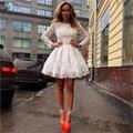 Elegante 2016 Nova da Menina Bonita Lace Branco Completa Da Luva A-Line Curto/Mini Vestido Vestido Formal robe de cocktail vestidos de noiva Tamanho Personalizado