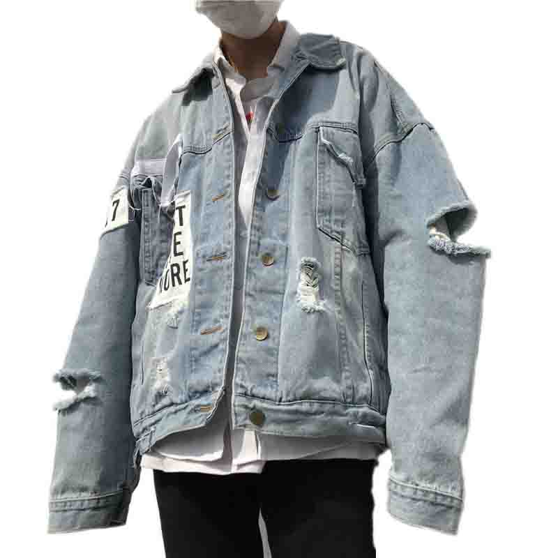 Denim Hole Bomber Jacket Printed Cartoon Oversize For Harajuku Women qBBP5