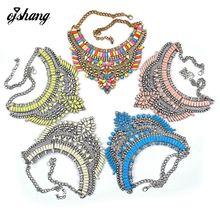 Nuevo Color caliente Mujeres de La Manera 2016 Collar Colgante Collier Femme Bib Declaración Collar Gargantilla de La Vendimia Grande Negro Maxi Crystal