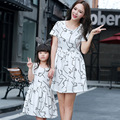 2016 New Summer Style Family Matching Outfits Mother and Daughter Printed Dresses Matching Mom Daughter Family Clothing
