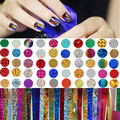 50 Pçs/set Brilho Colorido Céu Estrelado Prego Folha De 4*20 cm Manicure Nail Art Sticker