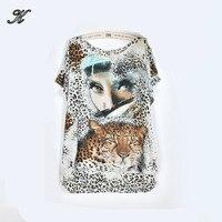 NEW 2017 mùa xuân mùa hè phụ nữ casual leopard print ngắn tay áo t áo sơ mi áo & tees cộng với kích thước loose lady của thời trang tiger 3xl 4xl
