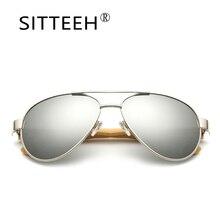 SITTEEH gafas de Sol retro marco de metal piernas de bambú gafas de sol para mujeres de los hombres de diseño de Marca oculos gafas de sol mujer SI40