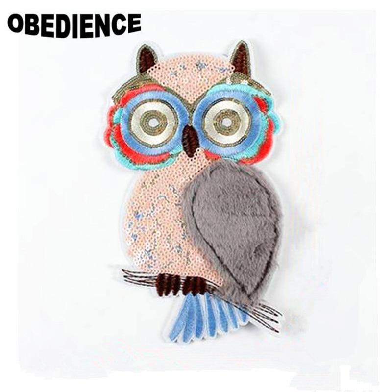 Obediencia 1 PS 26*16 cm patrón lindo del búho Bordado del applique ...