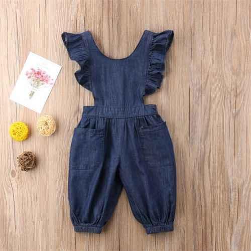Fırfır Çocuklar Erkek Bebek Kız Denim Bodysuit Kot Tozluk Tulum Kıyafetler