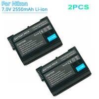 2 pièces ENEL15 EN EL15 EN-El15a 2550mah Rechargeable Remplacement Batterie pour Appareil Photo Nikon D500 D750 D7100 D7500 D800 D600 Batteries