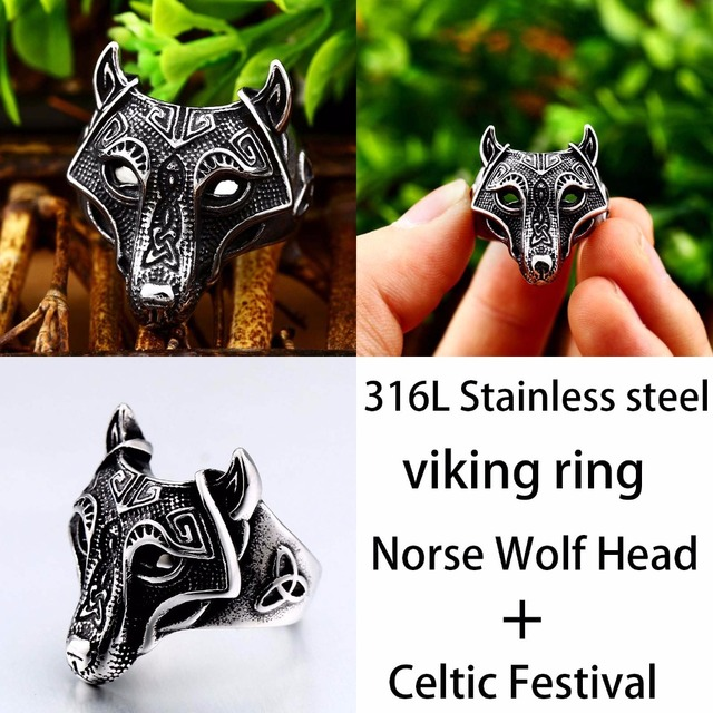 Beier 316L Stainless Steel Nordic Viking Ring Custom Rune beads Signet wolf Scandinavn Odin Symbol fashion Men Jewelry  LR522 32822703363