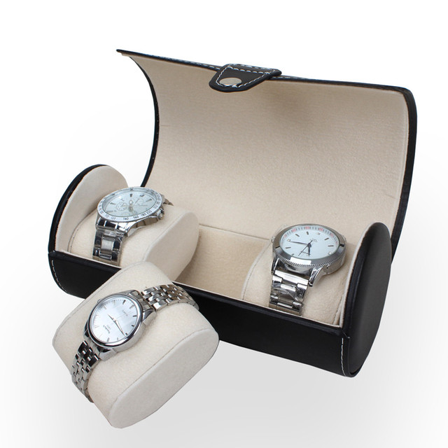 Luxury Watch Display Gift Box Case Roll 3 Slot Wristwatch Necklace